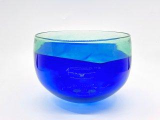 ビンテージ vintage ガラス ボウル グリーン & ブルー バイカラー ●