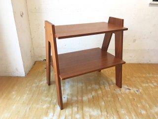 オリジナルデザイン 木製 2段 ラダーシェルフ オープンラック 飾り棚 ミニシェルフ A ★