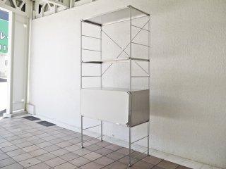無印良品 MUJI ステンレスユニットシェルフ オープンシェルフ 1列3段 フロントスクリーン バックパネル サイドパネル付き ◇