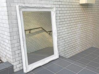 ヨーロピアン クラシカル ウォールミラー 壁掛け 鏡 ホワイト ペインテッド ロココ調 シャビーシック ■