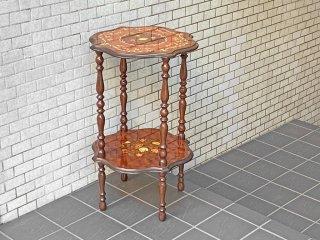 ヨーロピアン クラシカル サイドテーブル 花台 象嵌 植物文様 ボタニカル オリエンタル ■