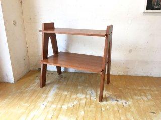 オリジナルデザイン 木製 2段 ラダーシェルフ オープンラック 飾り棚 ミニシェルフ B ★