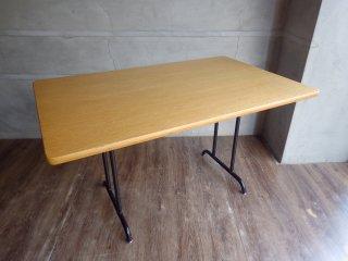 ウニコ unico ファニート FUNEAT リビングダイニングテーブル W120 オーク材天板×スチールレッグ カフェスタイル 定価59,180円 ♪