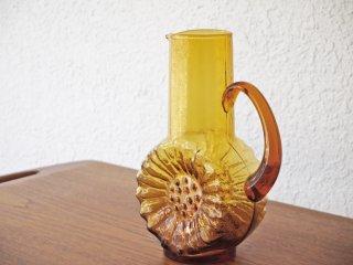 ガラス ピッチャー デキャンタ フラワーベース アンバー フラワーデザイン チェコスロバキア製 1970's ビンテージ ◇