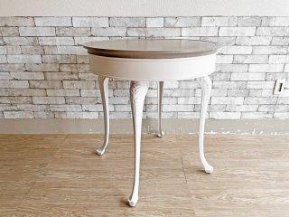 カフェテーブル ホワイト ラウンド Φ74.5cm クラシカルデザイン Classical design シャビーシック ●