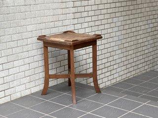 ジャパンビンテージ 昭和レトロ 木味 サイドテーブル 飾り棚 花台 ランプテーブル 和家具 古家具 ■