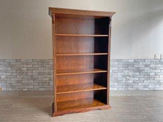クラシカルデザイン Classical design 木製 ブックシェルフ キャビネット ブラウン H188cm 飾り棚 本棚 店舗什器 ●