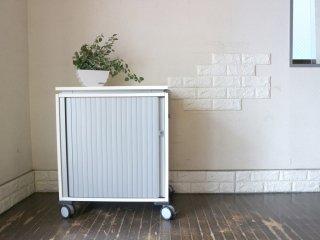 スチールケース Steelcase Mobys キャビネットワゴン 蛇腹扉 キャスター 小型収納 オフィス家具 ホワイト 鍵付 定価約9万円 ◎