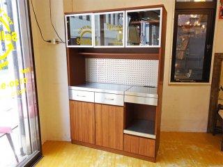 ウニコ unico ストラーダ STRADA キッチンボード レンジボード 食器棚 アッシュ材 W120cm オープンタイプ 廃盤 ★