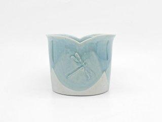 デンマーク製 denmark フラワーベース 陶製 花器 トンボモチーフ Φ24cm 北欧雑貨 ●