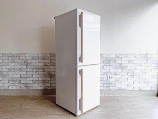 アマダナ amadana 2ドア ノンフロン 冷凍冷蔵庫 ARF-A28 275L ホワイト 2015年製 本革ハンドル デザイン家電 ●
