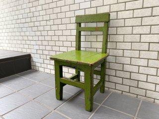 ジャパンビンテージ Japan Vintage 子供椅子 キッズチェア 花台 グリーンペイント シャビーシック 昭和レトロ ■