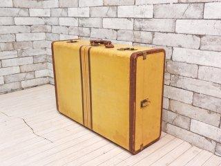 ビンテージ Vintage トランク スーツケース 鍵付 イエロー ストライプ柄 レトロ 収納 ディスプレイ 店舗什器 ●