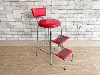 ヴィコ ファニチャー viko furniture ステップチェア ハイスツール 折畳式 脚立 フォールディング ステップツール  USビンテージ 現状品 ●