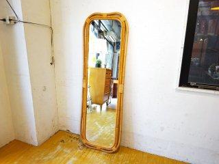 ウニコ UNICO ウィーバ WEAVA スタンドミラー Lサイズ スタイルミラー 壁掛け鏡 姿見 ラタンフレーム 籐製 ★