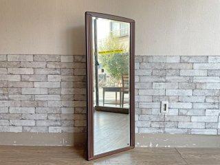 アルテ ARTE ウォールミラー 鏡 壁掛け 姿見 木製フレーム ダークブラウン 50×130cm シンプルデザイン ●