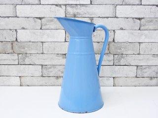 ヨーロピアンビンテージ European Vintage ホーローピッチャー ジャグ 水差し ライトブルー H37cm 花器 ディスプレイ ブロカント 古道具 ●