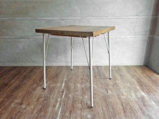 古材天板×アイアンレッグ カフェテーブル ワークデスク スクエア 無垢集成材 インダストリアル ♪