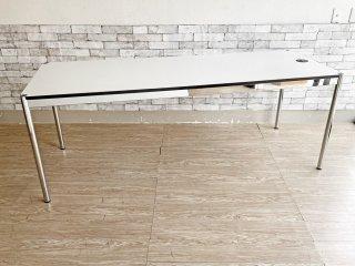 ユーエスエムハラー USM Haller モジュラーファニチャー Modular Furniture ハラーテーブル ホワイトラミネート天板 W200cm 配線孔×1 セミオーダー品 ●