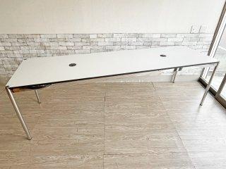 ユーエスエムハラー USM Haller モジュラーファニチャー Modular Furniture ハラーテーブル ホワイトラミネート天板 W250cm 配線孔×2 セミオーダー品 ●