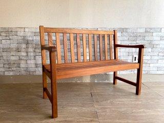 アジアンチーク無垢材 ガーデンベンチ 木製ベンチ ベンチチェア カフェベンチ クッション付き ●