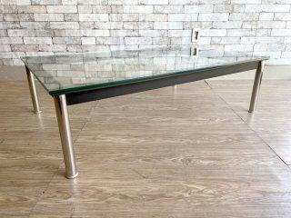 ル・コルビジェ Le Corbusier デザイン LC10 ローテーブル ガラス×クロームレッグ デザイナーズ家具 リプロダクト品 ●