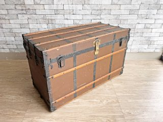 Henry Likly & Co. 大型 スチーマートランク ケース 船舶 収納ボックス 鍵付き USアンティーク 店舗什器 ●