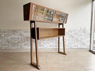 ジャパンビンテージ Japan Vintage 変形ガラスキャビネット オープンラック 木製収納 W171cm ミッドセンチュリーデザイン ●