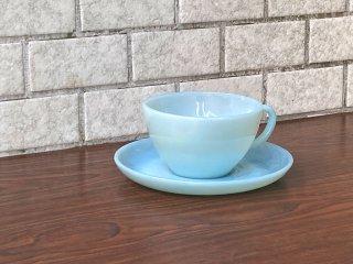 ファイヤーキング FIRE KING カップ&ソーサー ターコイズブルー 直径10cm ミルクガラス アメリカ A ■