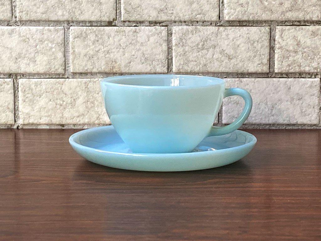 ファイヤーキング FIRE KING カップ&ソーサー ターコイズブルー 直径10cm ミルクガラス アメリカ B ■