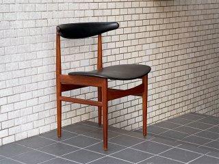 デンマークビンテージ Danish Vintage V.S.DENMARK チーク無垢材 ダイニングチェア ビニールレザー 60's A ■