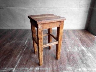 ビンテージ Vintage 古い木味 無垢材 スツール 腰掛け 花台 スクエア W30cm インダストリアル クラフト ♪