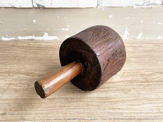 ビンテージ Vintage 木製 横槌 藁たたき ディスプレイ ドアストッパー インテリア 古道具 古民具 レトロ ●
