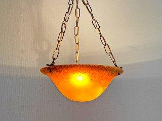 ビンテージスタイル Vintage Style ガラス ペンダントライト イエロー 3灯式 Φ34cm 吊り下げ照明 ベネチアンガラス風 レトロ ●
