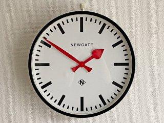 ニューゲート NEW GATE ステーションクロック Large ブラック×レッド 掛時計 鉄道時計 ウォールクロック Φ45cm イギリス 英国 ノスタルジック 定価¥44000- ●