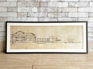 フランク・ロイド・ライト Frank Lloyd Wright 旧帝国ホテル The Imperial Hotel 立体図面 ARCHITECT ポスター オフセットプリント W106cm 額装品 ●