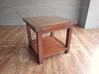 ヒッカドゥワ HIKKADUWA サイドテーブル ガラスローテーブル チーク無垢材 × バンブー バリ家具 アジアンスタイル ♪