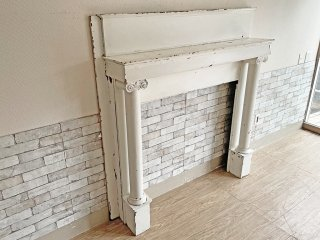 ヨーロピアンクラシカル マントルピース 暖炉枠 フレンチカントリー シャビーシック アンティーク調 ホワイト ●