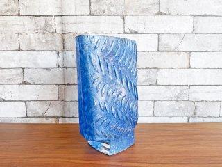 ドーム Daum フラワーベース 花瓶 花器 ガラス ブルー H30cm フランス ●