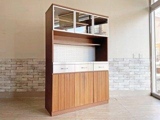 ウニコ unico ストラーダ STRADA キッチンボード レンジボード 食器棚 アッシュ材 W120cm 廃番 現状品 ●