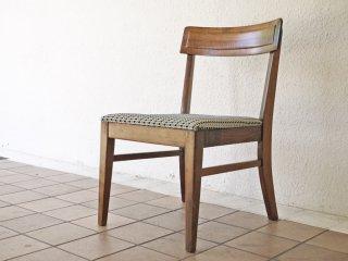 B.P.John Furniture USビンテージ 木製 ダイニングチェア ドットパターン ファブリック 米軍家具 ミッドセンチュリー ◇
