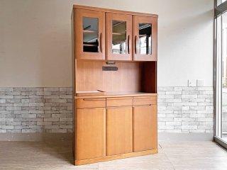モダンデザイン Modern design キッチンボード カップボード 食器棚 幅119 オーク材 ステンレス 電源二口 スライド天板 ●