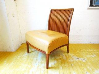 BC工房 安楽きらきら椅子 ラウンジチェア 1シーター 本革 チーク無垢材 アームレス ベージュ 和椅子 安楽椅子 ★
