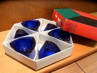 希少 ヌータヤルヴィ ◇ NUUTAJARVI Kaj Franck ( カイ・フランク ) Bulls Eye 6P Boxセット ブルー