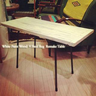 ☆White Paint Wood × Steel Reg   Remake Table
