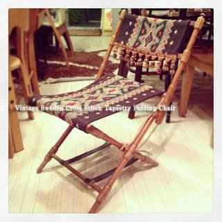 "☆Vintage ""Sweden"" Cross Stitch Tapestry Folding Chair"