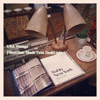 ☆50〜60`s USA Vintage   FiberglassShade  〜Twin desk light〜