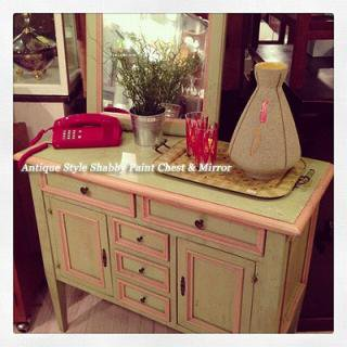 ☆Antique Style Shabby Paint   Chest & Mirror Set