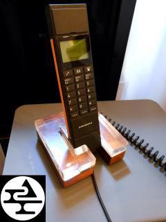 ◎amadana アマダナ 電話機 DU-119 アクリル×ウォルナットクレードル