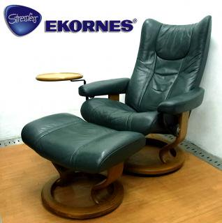 ◇ ノルウェー EKORNES ( エコーネス社 ) ストレスレス  『 Wing ( ウイング )』 + オットマン + 別売りスウィングテーブル付属 (D.グリーン)